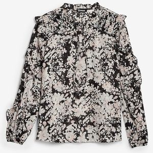 NWT Express Metallic Floral Ruffle Top